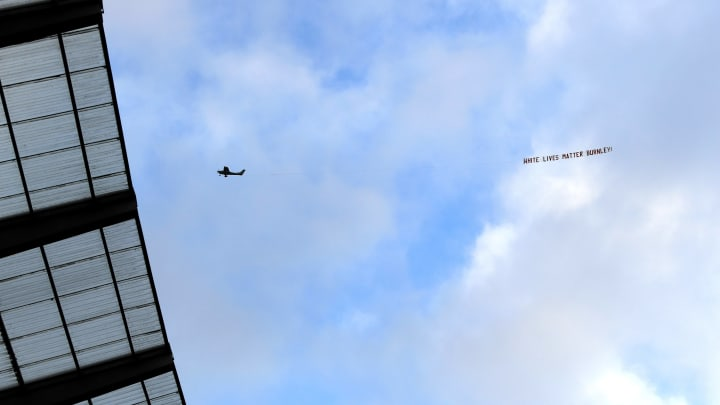 A plane carrying the message 'White Lives Matter - Burnley' was flown over the Etihad Stadium
