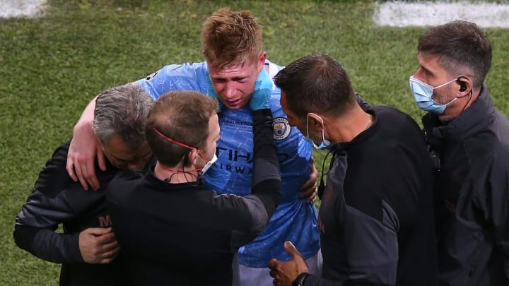 Kevin De Bruyne couldn't finish the Champions League final after colliding with Antonio Rudiger