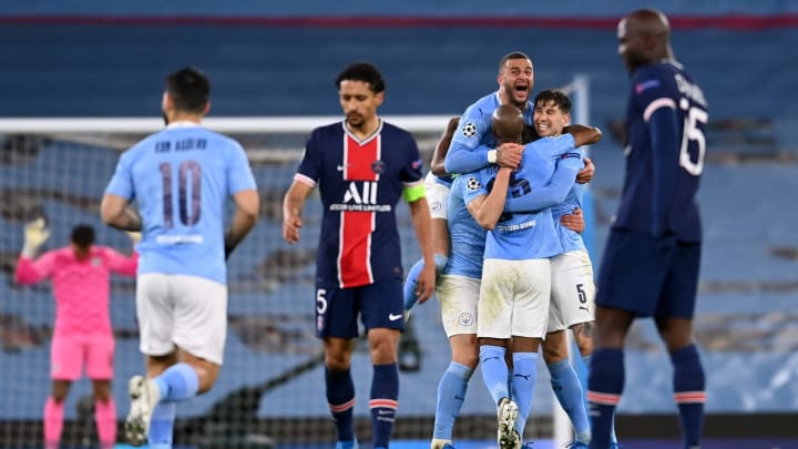 Man City celebrate at full-time