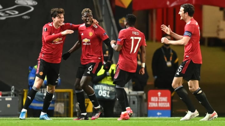 Paul Pogba, Victor Lindeloef, Fred, Harry Maguire