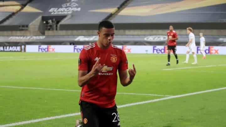 Greenwood celebrating a strike in last season's Europa League