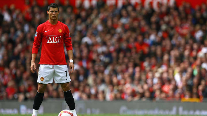 Cristiano Ronaldo lines up a free-kick for Manchester United