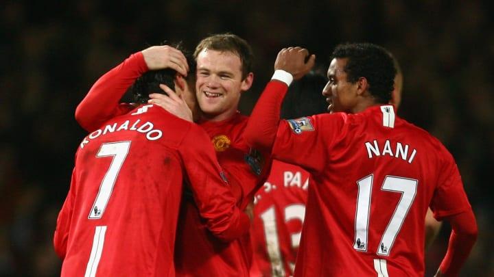 Wayne Rooney celebrating with Cristiano Ronaldo
