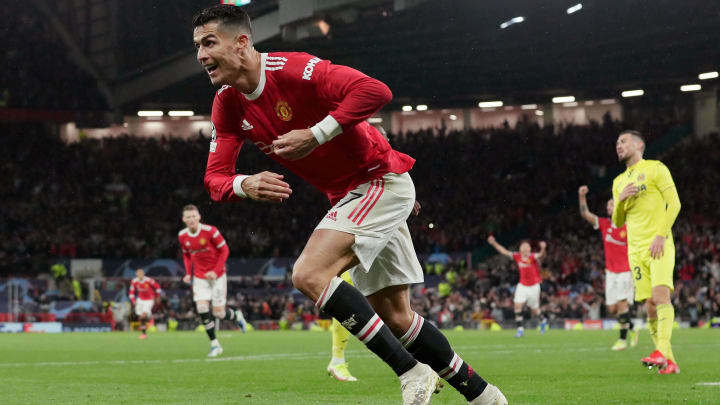Cristiano Ronaldo after scoring Manchester United's winning goal against Villarreal