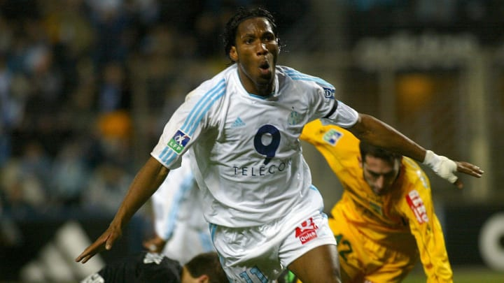 Marseille's forward Didier Drogba jubila