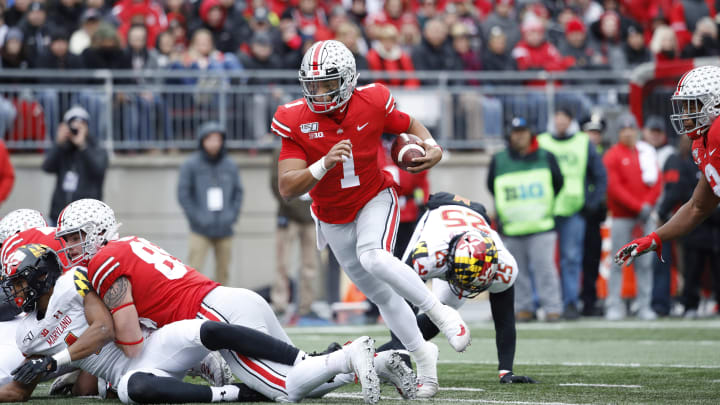 COLUMBUS, OH - NOVEMBER 09: Justin Fields #1 of the Ohio State Buckeyes runs with the ball during a game against the Maryland Terrapins at Ohio Stadium on November 9, 2019 in Columbus, Ohio. Ohio State defeated Maryland 73-14. (Photo by Joe Robbins/Getty Images)