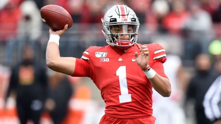 COLUMBUS, OH - NOVEMBER 09:  Justin Fields #1 of the Ohio State Buckeyes throws a pass against the Maryland Terrapins at Ohio Stadium on November 9, 2019 in Columbus, Ohio.  (Photo by G Fiume/Maryland Terrapins/Getty Images)