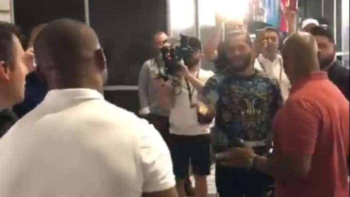 Kamaru Usman and Jorge Masvidal confront each other on Radio Row at the Super Bowl