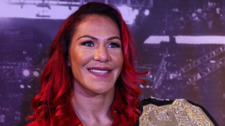 RIO DE JANEIRO, BRAZIL - AUGUST 15: UFC Featherweight Champion Cris Cyborg attends a press conference at the Hilton Hotel in Copacabana on August 15, 2017 in Rio de Janeiro, Brazil. (Photo by Buda Mendes/Getty Images)