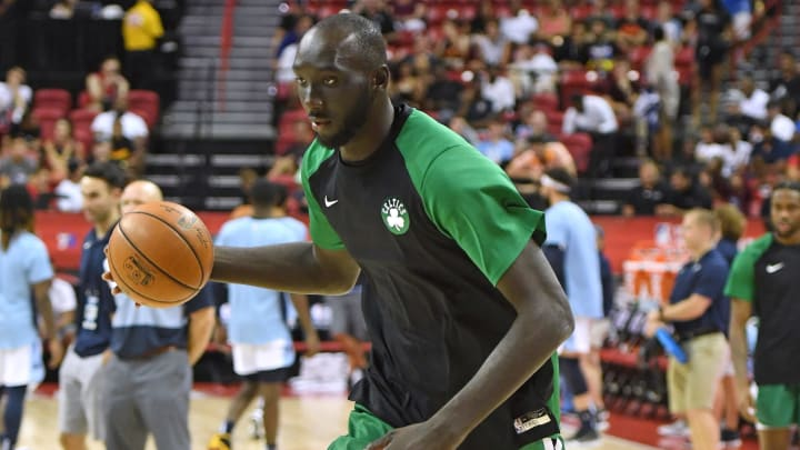 LAS VEGAS, NEVADA - JULY 11:  Tacko Fall #55 of the Boston Celtics warms up before a game against the Memphis Grizzlies during the 2019 NBA Summer League at the Thomas & Mack Center on July 11, 2019 in Las Vegas, Nevada. The Celtics defeated the Grizzlies 113-87. NOTE TO USER: User expressly acknowledges and agrees that, by downloading and or using this photograph, User is consenting to the terms and conditions of the Getty Images License Agreement.  (Photo by Ethan Miller/Getty Images)