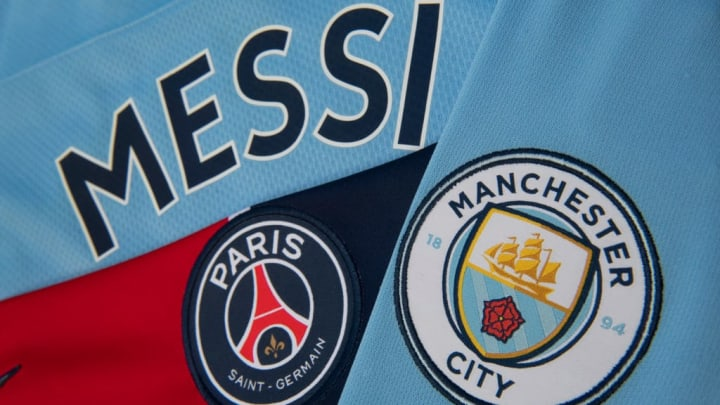 Messi on the Back of a Manchester City Home Shirt with the Paris Saint-Germain and Manchester City