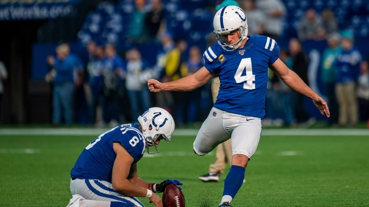 INDIANAPOLIS, IN - NOVEMBER 10: Adam Vinatieri #4 of the Indianapolis Colts warms up before the start of the game against the Miami Dolphins at Lucas Oil Stadium on November 10, 2019 in Indianapolis, Indiana. (Photo by Bobby Ellis/Getty Images)