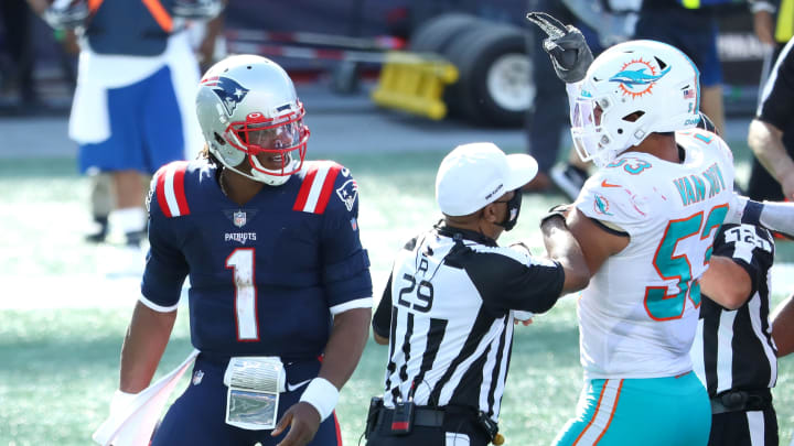 Cam Newton, Kyle Van Noy, Miami Dolphins v New England Patriots