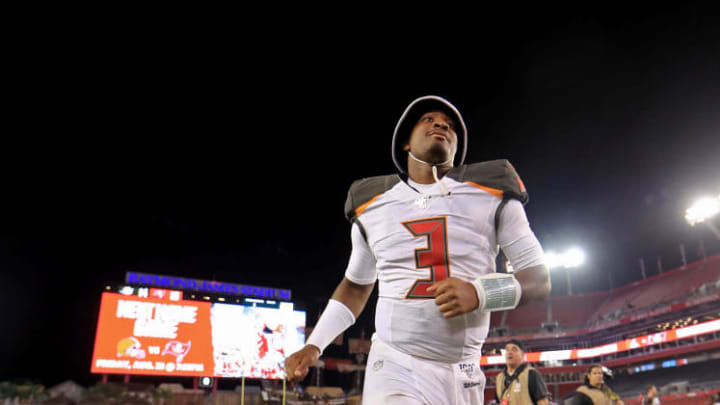 TAMPA, FLORIDA - AUGUST 16: Jameis Winston #3 of the Tampa Bay Buccaneers runs off the field following a preseason game against the Miami Dolphins at Raymond James Stadium on August 16, 2019 in Tampa, Florida. (Photo by Mike Ehrmann/Getty Images)