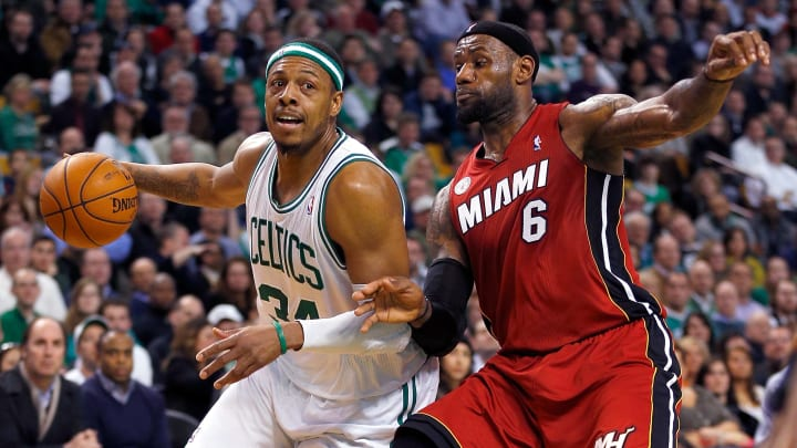 LeBron James defending Paul Pierce in one of their matchups in the playoffs
