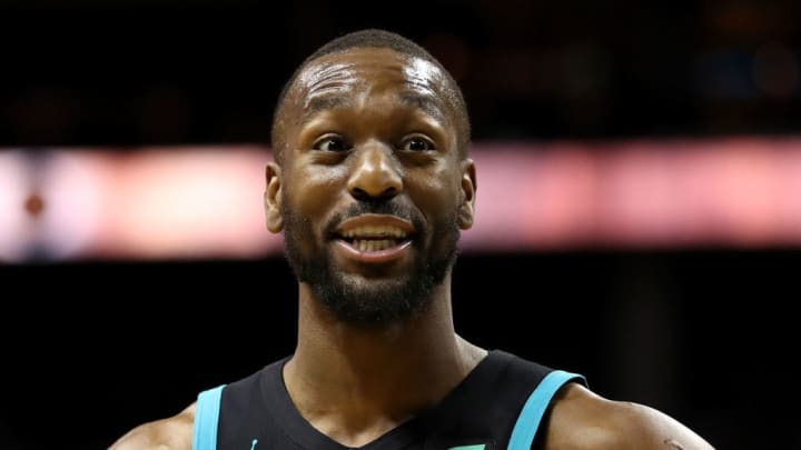 CHARLOTTE, NORTH CAROLINA - MARCH 06: Kemba Walker #15 of the Charlotte Hornets reacts against the Miami Heat during their game at Spectrum Center on March 06, 2019 in Charlotte, North Carolina. NOTE TO USER: User expressly acknowledges and agrees that, by downloading and or using this photograph, User is consenting to the terms and conditions of the Getty Images License Agreement. (Photo by Streeter Lecka/Getty Images)