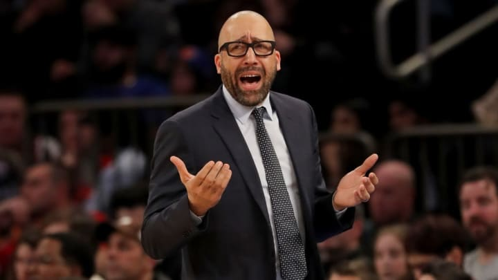 NEW YORK, NEW YORK - JANUARY 27:   Head coach David Fizdale of the New York Knicks reacts to a call against the New York Knicks in the third quarter against the Miami Heat at Madison Square Garden on January 27, 2019 in New York City.NOTE TO USER: User expressly acknowledges and agrees that, by downloading and or using this photograph, User is consenting to the terms and conditions of the Getty Images License Agreement.  (Photo by Elsa/Getty Images)