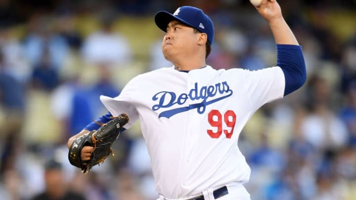 LOS ANGELES, CALIFORNIA - JULY 19:  Hyun-Jin Ryu #99 of the Los Angeles Dodgers pitches against the Miami Marlins during the second inning at Dodger Stadium on July 19, 2019 in Los Angeles, California. (Photo by Harry How/Getty Images)