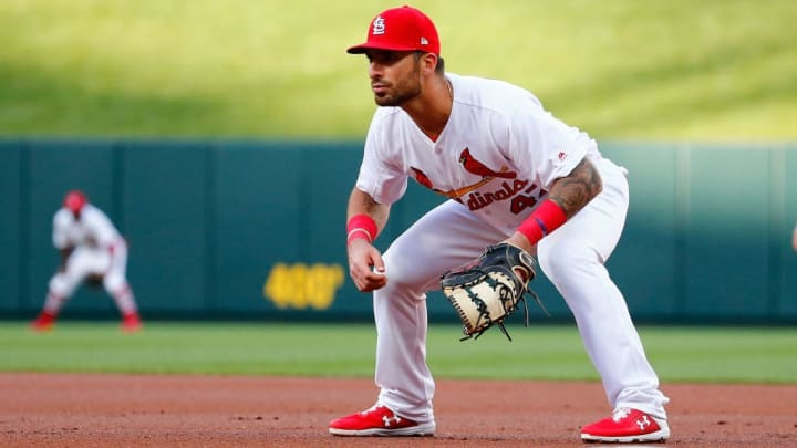 ST LOUIS, MO - JUNE 19: Rangel Ravelo #47 of the St. Louis Cardinals covers first base in his first MLB start during a game against the Miami Marlins in the first inning at Busch Stadium on June 19, 2019 in St Louis, Missouri. (Photo by Dilip Vishwanat/Getty Images)
