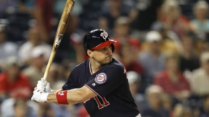 WASHINGTON, DC - JULY 02: Ryan Zimmerman #11 of the Washington Nationals bats against the Miami Marlins at Nationals Park on July 02, 2019 in Washington, DC. (Photo by Patrick Smith/Getty Images)