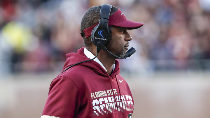 TALLAHASSEE, FL - NOVEMBER 2: Head Coach Willie Taggart of the Florida State Seminoles on the sidelines during the game against the Miami Hurricanes at Doak Campbell Stadium on Bobby Bowden Field on November 2, 2019 in Tallahassee, Florida. Miami defeated Florida State 27 to 10. (Photo by Don Juan Moore/Getty Images)