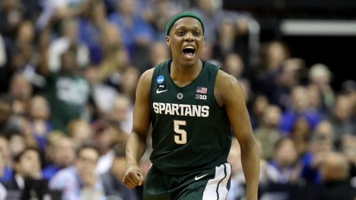 WASHINGTON, DC - MARCH 31: Cassius Winston #5 of the Michigan State Spartans celebrates a basket against the Duke Blue Devils during the first half in the East Regional game of the 2019 NCAA Men's Basketball Tournament at Capital One Arena on March 31, 2019 in Washington, DC. (Photo by Rob Carr/Getty Images)