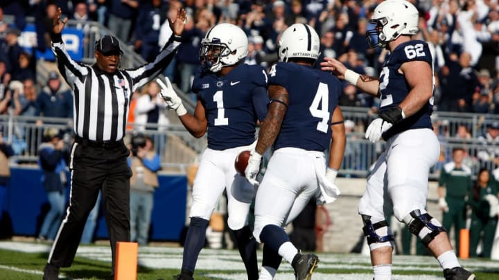 STATE COLLEGE, PA - OCTOBER 13:  KJ Hamler #1 of the Penn State Nittany Lions celebrates after catching a 5 yard touchdown pass in the first half against the Michigan State Spartans on October 13, 2018 at Beaver Stadium in State College, Pennsylvania.  (Photo by Justin K. Aller/Getty Images)