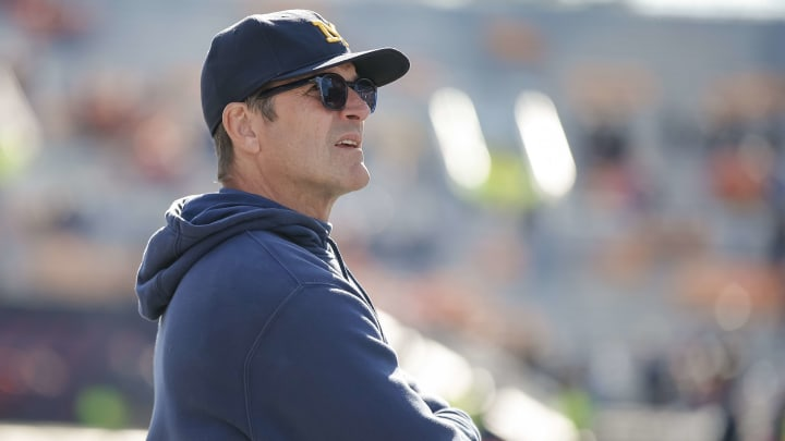 CHAMPAIGN, IL - OCTOBER 12: Head coach Jim Harbaugh of the Michigan Wolverines is seen during the second half against the Illinois Fighting Illini at Memorial Stadium on October 12, 2019 in Champaign, Illinois. (Photo by Michael Hickey/Getty Images)