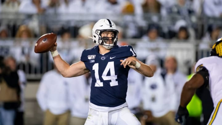 UNIVERSITY PARK, PA - OCTOBER 19:  Sean Clifford #14 of the Penn State Nittany Lions passes the ball during the third quarter against the Michigan Wolverines on October 19, 2019 at Beaver Stadium in University Park, Pennsylvania. Penn State defeats Michigan 28-21.  (Photo by Brett Carlsen/Getty Images)