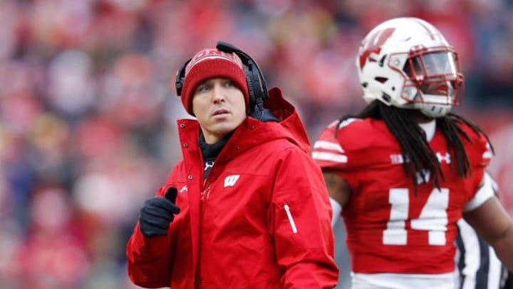 MADISON, WI - NOVEMBER 18: Defensive coordinator Jim Leonhard of the Wisconsin Badgers looks on during a game against the Michigan Wolverines at Camp Randall Stadium on November 18, 2017 in Madison, Wisconsin. Wisconsin won 24-10. (Photo by Joe Robbins/Getty Images)