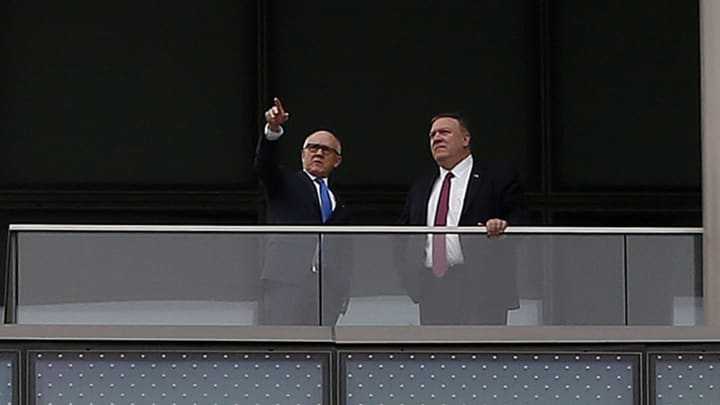 Mike Pompeo And Woody Johnson At The America Embassy