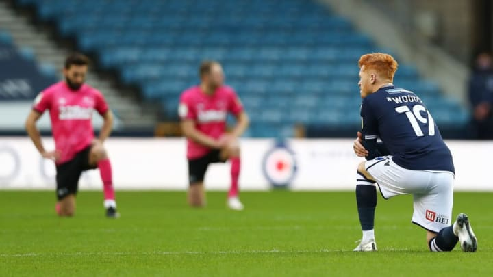 Millwall and Derby players take the knee