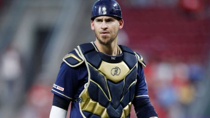 CINCINNATI, OH - SEPTEMBER 25: Yasmani Grandal #10 of the Milwaukee Brewers looks on during a game against the Cincinnati Reds at Great American Ball Park on September 25, 2019 in Cincinnati, Ohio. The Brewers defeated the Reds 9-2. (Photo by Joe Robbins/Getty Images)