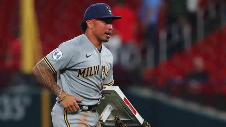 Kolten Wong taking second base.