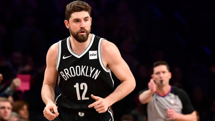 NEW YORK, NEW YORK - APRIL 01:  Joe Harris #12 of the Brooklyn Nets in action against the Milwaukee Bucks at Barclays Center on April 01, 2019 in New York City. The Bucks defeated the Nets 131-121. NOTE TO USER: User expressly acknowledges and agrees that, by downloading and or using this photograph, User is consenting to the terms and conditions of the Getty Images License Agreement. (Photo by Steven Ryan/Getty Images)