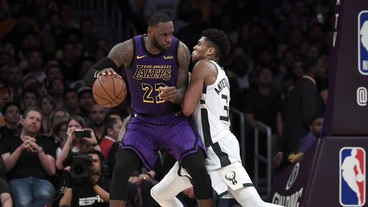 LeBron James, Giannis Antetokounmpo, Milwaukee Bucks v Los Angeles Lakers