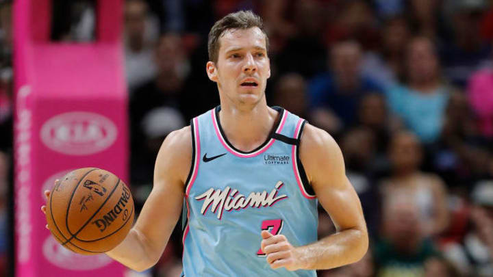 Dragic dribbling the ball up the floor for Miami