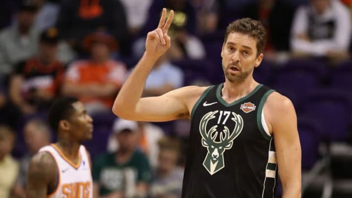 PHOENIX, ARIZONA - MARCH 04:  Pau Gasol #17 of the Milwaukee Bucks reacts during the first half of the NBA game against the Phoenix Suns at Talking Stick Resort Arena on March 04, 2019 in Phoenix, Arizona. (Photo by Christian Petersen/Getty Images)