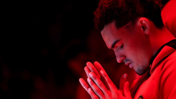 ATLANTA, GA - NOVEMBER 25: Trae Young #11 of the Atlanta Hawks looks on prior to the game against the Minnesota Timberwolves at State Farm Arena on November 25, 2019 in Atlanta, Georgia. NOTE TO USER: User expressly acknowledges and agrees that, by downloading and or using this photograph, User is consenting to the terms and conditions of the Getty Images License Agreement. (Photo by Carmen Mandato/Getty Images)