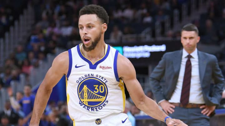 SAN FRANCISCO, CALIFORNIA - OCTOBER 10: Stephen Curry #30 of the Golden State Warriors dribbles the ball against the Minnesota Timberwolves during an NBA basketball game at Chase Center on October 10, 2019 in San Francisco, California. NOTE TO USER: User expressly acknowledges and agrees that, by downloading and or using this photograph, User is consenting to the terms and conditions of the Getty Images License Agreement. (Photo by Thearon W. Henderson/Getty Images)
