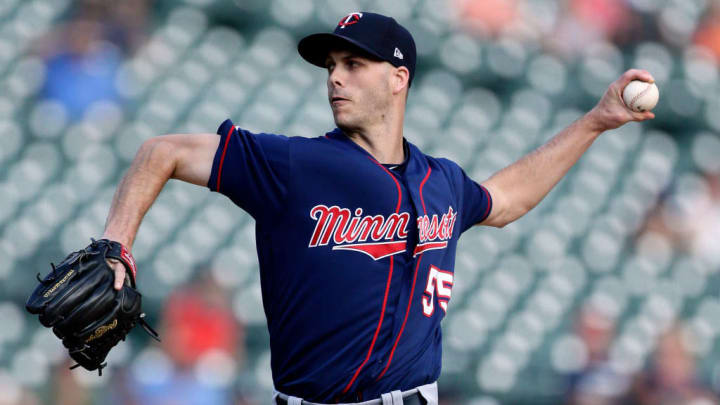 DETROIT, MI - SEPTEMBER 2:  Taylor Rogers #55 of the Minnesota Twins pitches against the Detroit Tigers during the ninth inning at Comerica Park on September 2, 2019 in Detroit, Michigan. The Twins defeated the Tigers 4-3. (Photo by Duane Burleson/Getty Images)