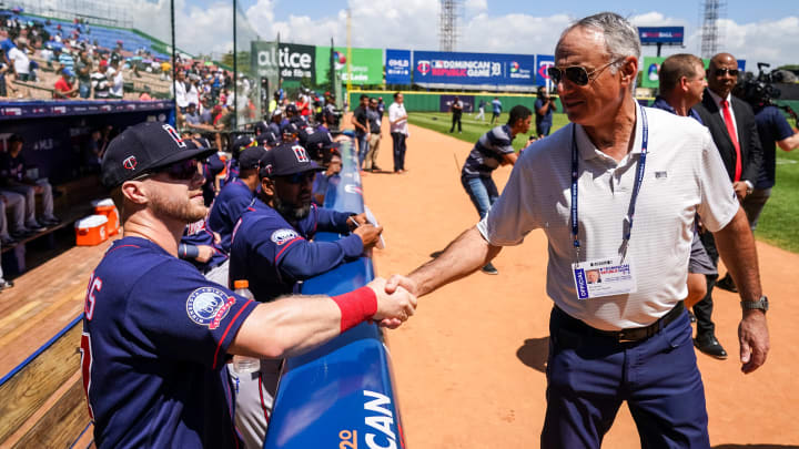 MLB commissioner Rob Manfred at Twins-Tigers in the Dominican