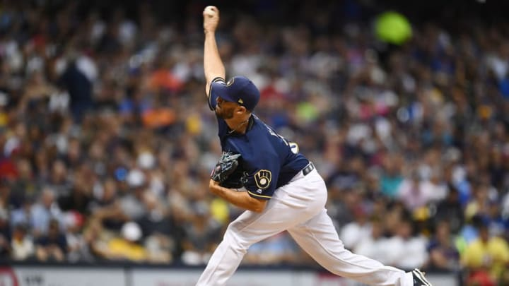 MILWAUKEE, WISCONSIN - AUGUST 13:  Jake Faria #36 of the Milwaukee Brewers throws a pitch during the seventh inning against the Minnesota Twins at Miller Park on August 13, 2019 in Milwaukee, Wisconsin. (Photo by Stacy Revere/Getty Images)