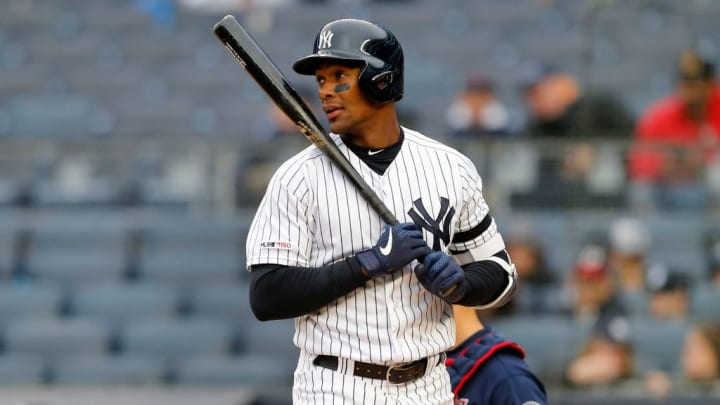 NEW YORK, NEW YORK - MAY 05:   (NEW YORK DAILIES OUT)  Miguel Andujar #41 of the New York Yankees in action against the Minnesota Twins at Yankee Stadium on May 05, 2019 in New York City. (Photo by Jim McIsaac/Getty Images)