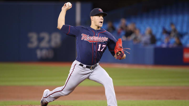 TORONTO, ON - MAY 07: Jose Berrios #17 of the Minnesota Twins delivers a pitch in the first inning during MLB game action against the Toronto Blue Jays at Rogers Centre on May 7, 2019 in Toronto, Canada. (Photo by Tom Szczerbowski/Getty Images)