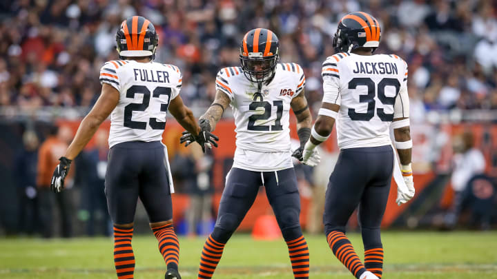CHICAGO, ILLINOIS - SEPTEMBER 29:  Kyle Fuller #23, Ha Ha Clinton-Dix #21, and Eddie Jackson #39 of the Chicago Bears meet in the third quarter against the Minnesota Vikings at Soldier Field on September 29, 2019 in Chicago, Illinois. (Photo by Dylan Buell/Getty Images)