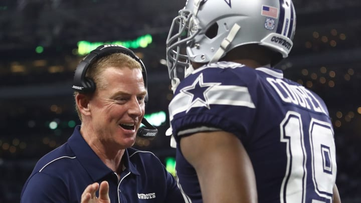 ARLINGTON, TEXAS - NOVEMBER 10:  Head coach Jason Garrett of the Dallas Cowboys celebrates a touchdown with Amari Cooper #19 in the third quarter against the Minnesota Vikings at AT&T Stadium on November 10, 2019 in Arlington, Texas. (Photo by Ronald Martinez/Getty Images)