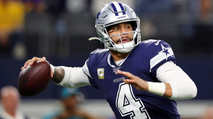 ARLINGTON, TEXAS - NOVEMBER 10: Dak Prescott #4 of the Dallas Cowboys throws a pass during the first half against the Minnesota Vikings at AT&T Stadium on November 10, 2019 in Arlington, Texas. (Photo by Tom Pennington/Getty Images)