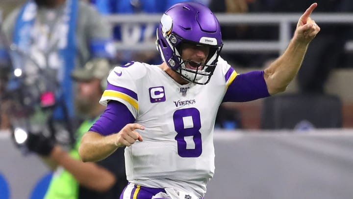 DETROIT, MICHIGAN - OCTOBER 20: Kirk Cousins #8 of the Minnesota Vikings reacts to a late fourth quarter touchdown run by Dalvin Cook #33 to seal the game against the Detroit Lions at Ford Field on October 20, 2019 in Detroit, Michigan. (Photo by Gregory Shamus/Getty Images)