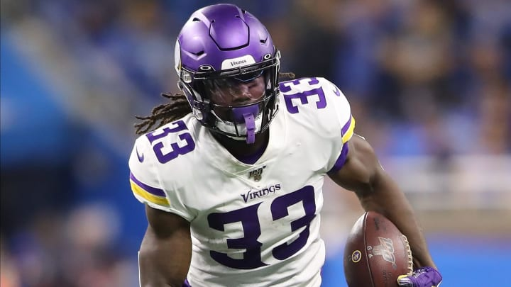 DETROIT, MI - OCTOBER 20: Dalvin Cook #33 of the Minnesota Vikings runs for a first down during the second quarter of the game against the Detroit Lions at Ford Field on October 20, 2019 in Detroit, Michigan. (Photo by Rey Del Rio/Getty Images)